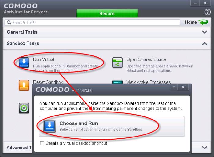 comodo disable sandbox for application