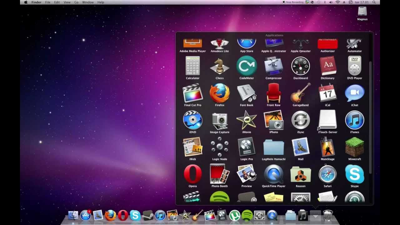 how to change the view of application folder in dock
