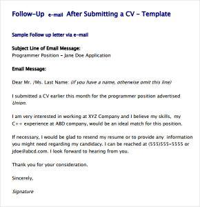 follow up response to job application