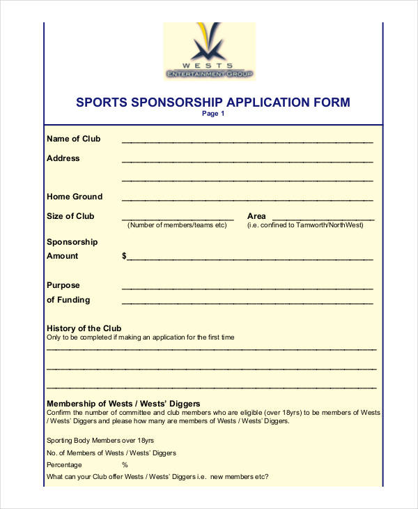 application for a sports sponsor