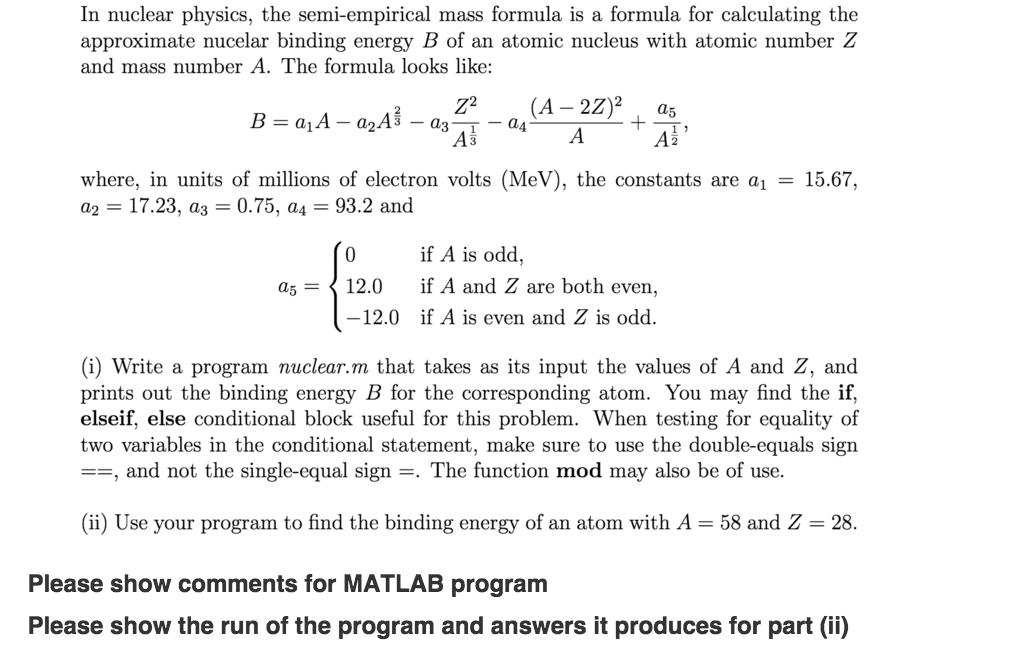 semi empirical mass formula applications