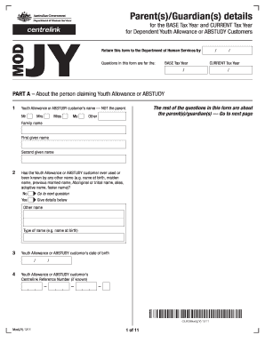 centrelink application form for youth allowance