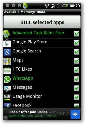 application manager and killing android