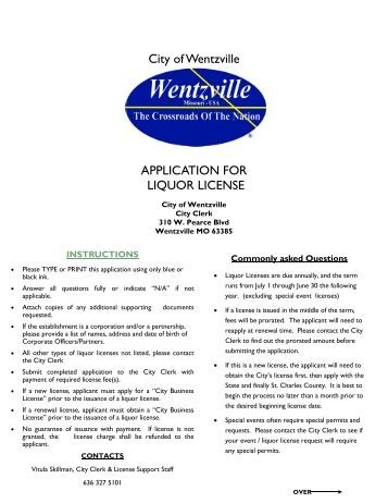 examples of liquor license applications