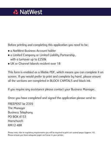 application form for natwest loan