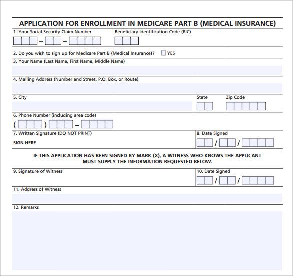 application for a medicare statement form