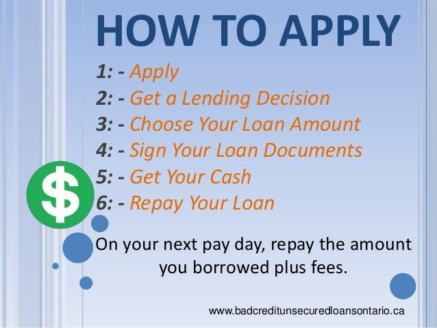 bad credit loans online application