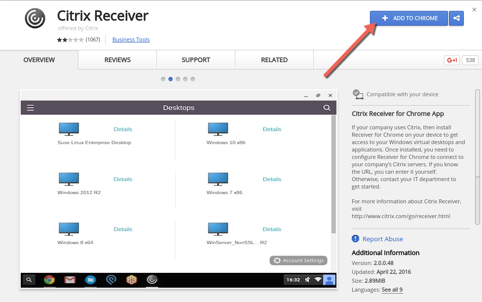 citrix receiver how to install applications on server