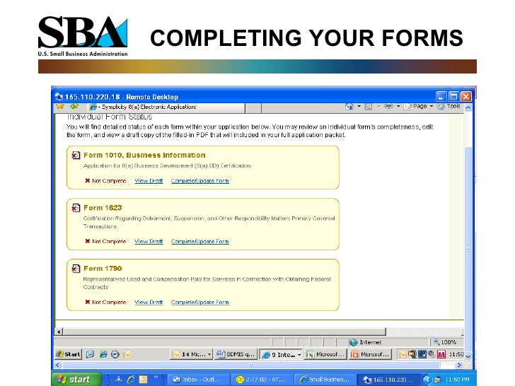 8 a business development bd program application