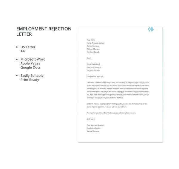 employment application rejection letter template
